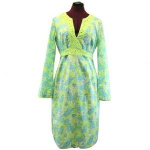 Lilly Pulitzer Long Sleeve Green Blue Dress Tie